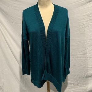 LOFT Teal Drape-Front Open Cardigan Wool Blend